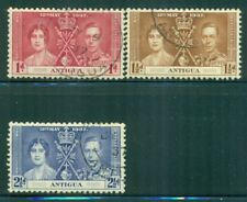 ANTIGUA 81-83 SG95-97 Used 1937 KGVI Coronation Issue set of 3 Cat$8