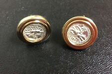 Vintage Sterling Silver Gold Tone Cufflinks Reproduction Ancient Roman Coin
