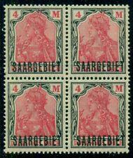 Saar #58 4m black and rose, black overprint, Block of 4, og, Nh