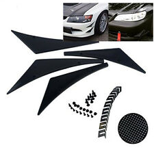 4x Front Bumper Lip Splitter Fins Body Spoiler Canards Valence Chin Decorative