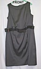 DRESSBARN Little Black Dress, Size 14W, Black Satin With Patent Leather Belt