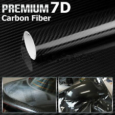 7D 60CM X1.5M Gloss Black Carbon Fibre Fiber Vinyl Car Wrap Air Release Film