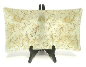 """RECTANGULAR GOLD/FROSTED GLASS BOWL/TRAY SIGNED GEORGES BRIARD GLASS GUILD 11.5"""""""
