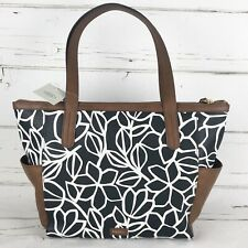 Fossil Tote Shoulder Bag zip top Floral white black brown everyday New
