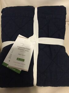 Pottery Barn One (1) Belgian Flax Linen Diamond Quilted King Sham Midnight Blue