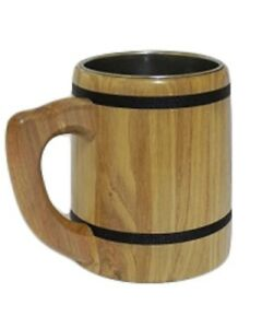 Wooden Oak Beer Mug Cup Tankard Mane in EU Very Solid Father's Day Gift 0.5l M5