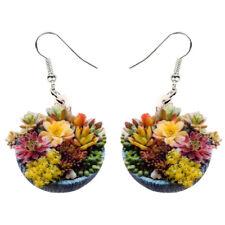 Acrylic Succulent Plant Bonsai Earrings Dangle Flowers Jewelry For Women Charms
