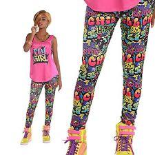 Ladies Graffiti Hip Hop Street Cartoon Comic High Waisted Leggings Fancy Dress
