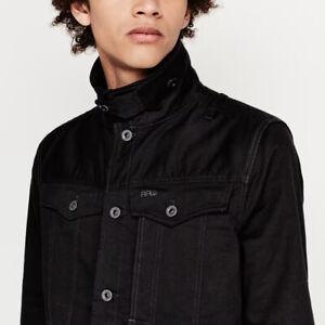 RRP New G-Star 3301 3D Slim 11 Oz Men Denim Black Jacket Size L Large