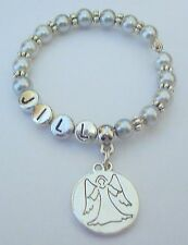 GIRLS GUARDIAN ANGEL BRACELET PERSONALISED SILVER PLATED ALL COLOURS