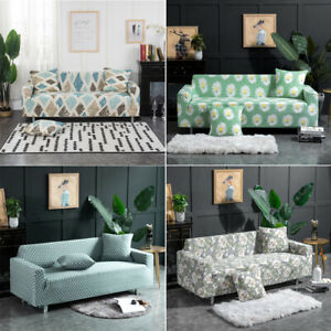 Printed Sofa Cover Stretch Couch Cover 1/2/3 Seater Slipcover Dust-Proof Decor