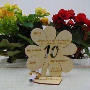 Hölzerne Hochzeit Personalisiertes Kleeblatt 16 cm Tischdekoration Holz