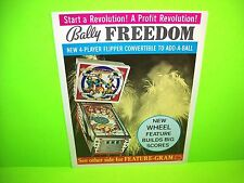 Bally FREEDOM 1976 Original Flipper Game Pinball Machine Promo Sales Flyer Rare