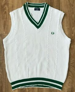 Fred Perry RARE Vintage 80s mens Tennis England knitted Vest Sweater size XL