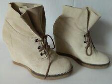 JONAK boots bottes bottines lacets cuir DAIM souple compensées 39 TBE