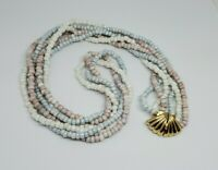 Pastel Seed Bead Multi Strand Decorative Shell Gold Clasp Necklace
