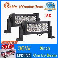 2X 8INCH 36W LED Work Light Bar Spot/Flood Offroad SUV Boat Driving Fog 4WD RALL