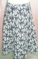 PER UNA UK 16 NAVY BLUE AND WHITE FLORAL 100% LINEN SUMMER HOLIDAY ALINE SKIRT