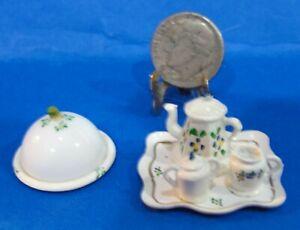 Dollhouse tea set white handpainted designs with tray, creamer, sugar, server