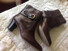 Anne Klein Brown Ankle Boots W/Zipper Brass Buckle Trim Size 6 Med