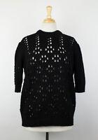 New MIU MIU Women's Black Cable Knit Short Sleeve Sweater Size 38/2 $790