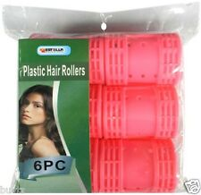 6x JUMBO Curly Wavy Plastic Hair Rollers Curler Clip Cylinder Salon Curls Roller