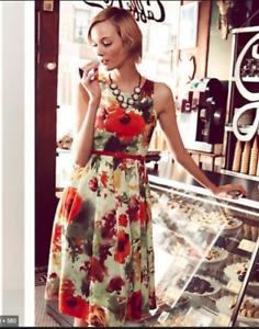 Anthropologie Eva Franco En Plein Air Pop Floral  Dress ~8~  $248