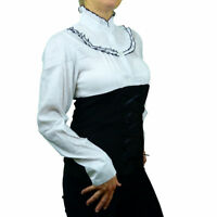 Steampunk Cotton Victorian Goth Longsleeve Business Corset Shirt 8 10 12 14 16