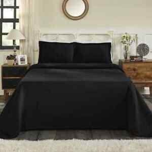BEAUTIFUL XXXL COZY CHIC MODERN BLACK DARK EXTRA LARGE SOFT BEDSPREAD QUILT SET