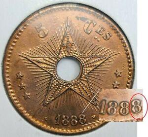 Belgian Congo, Leopold II, 5 Centimes Overdate 1888/7   AFD23