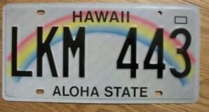 SINGLE HAWAII LICENSE PLATE - LKM 443 - Rainbow - ALOHA STATE