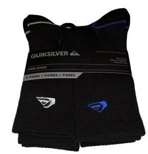 Quicksilver Crew Socks 5 Pair Men 6-12 Black w/ Blue & White Logo Surf Ride NEW!