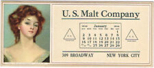 Rare JAN 1915 NEW YORK US Malt Co Blotter Calendar 'Old Time Sweetheart' ~4x9""