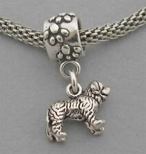 New Sterling Silver European Dangle Bead Charm 3D St Saint Bernard Dog 3557