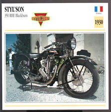 1930 Styl'son 350cc RHE Blackburne Engine Stylson Motorcycle Photo Spec Card