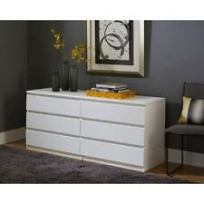 6 Drawer Chest White Storage Dresser Double Clothes Cabinet Bedroom