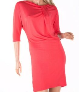 Ladies Knee Length Shift 3/4 Sleeve Viscose Stretch Dress One Size S-L 10 12 14
