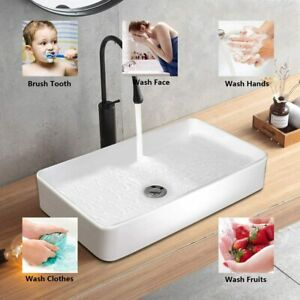 Wash Basin Cloakroom Bathroom Sink Rectangle Ceramic Counter Top Basin 600x340mm