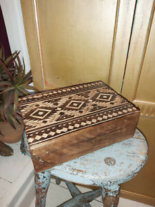 HAND CARVED SOLID MANGO WOOD MOROCCAN KASBAH INSPIRED RECTANGULAR BOX
