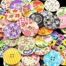 EG_ Charming 25pcs 30mm 4 Holes Wood Sewing Buttons Scrapbooking Jewelry Finding