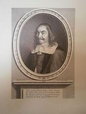 Planche gravure portrait de Jean Loret 1658 Par robert Nanteuil