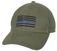 police hat baseball cap ballcap us flag thin blue line olive drab rothco 4425