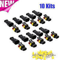 10x 2-Pin Way Car Auto Waterproof Electrical Connector Plug Socket Terminal Kit