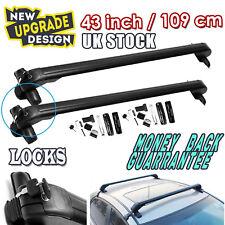 "109cm 43"" Car Roof Bars Aluminium Lockable Rack Universal Cross without Rails"