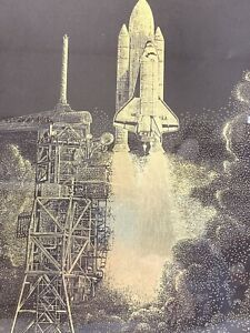 Space Shuttle Launch NASA Astronaut Gold Foil Etching Paul M. Breeden Art 11X14