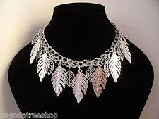 Nuevo Collar Cadena De Plata Con Hojas De Plata