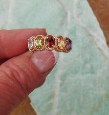 5 Multi Gemstone RING 18K RGold/Brass Topaz Peridot Garnet Citrine Amethyst Sz 8