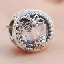925 Sterling Silver Enchanted Nature Charm Clear CZ Ladybirds Dragonflies Bead