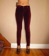 Seven 7 For All Mankind $178 Skinny Velvet Jeans Burgundy Dark Garnet Red 23 XXS