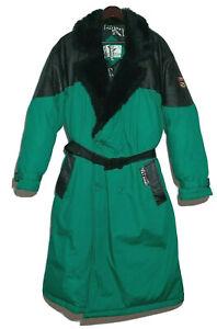 Vintage Men's Triple FAT Goose Feather Down & Leather Parka Jacket S 4 Pockets